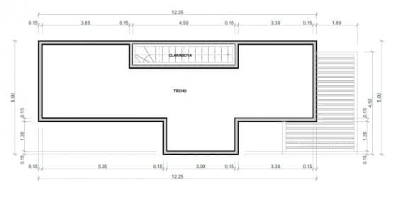Plano de techo casa dos niveles