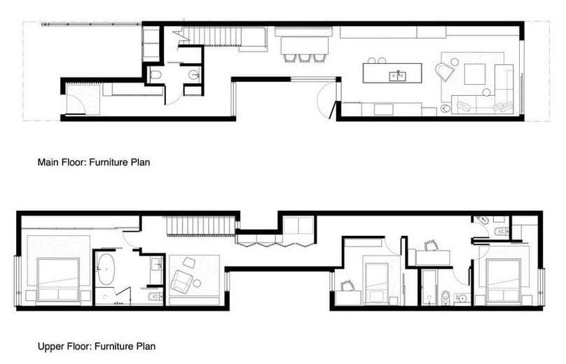 Planos de casa pequeña de dos plantas