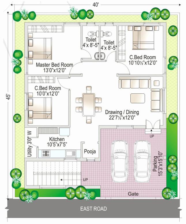 Plano de casa con estacionamiento