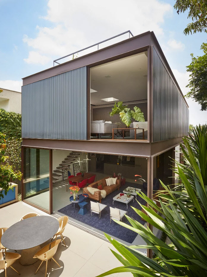 Diseño De Casa Con Estructura Metálica Armoniosa Y