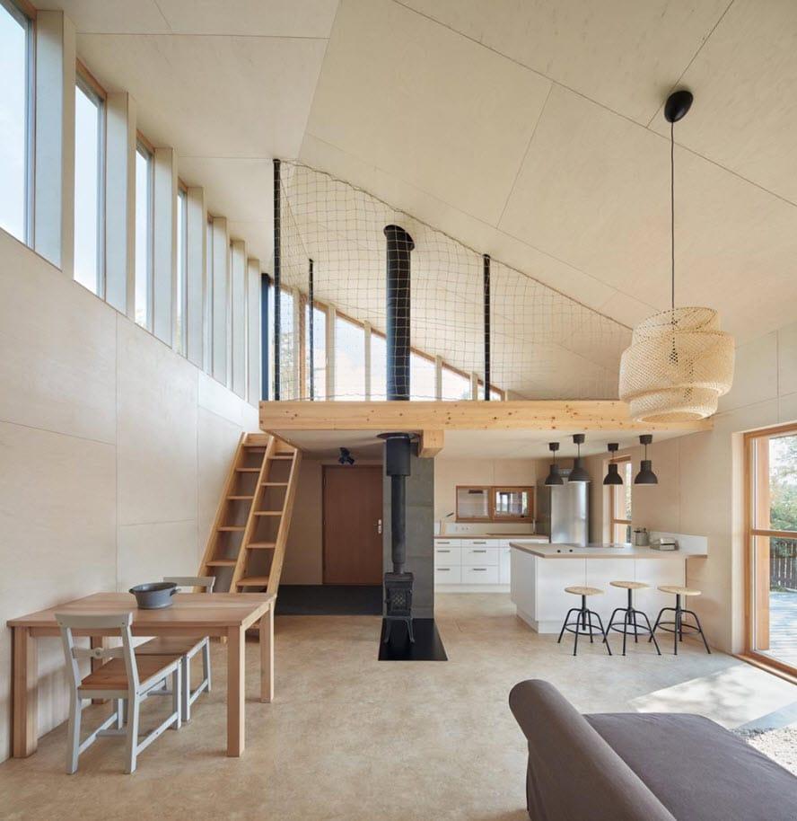 Diseño de interiores minimalista casa de campo