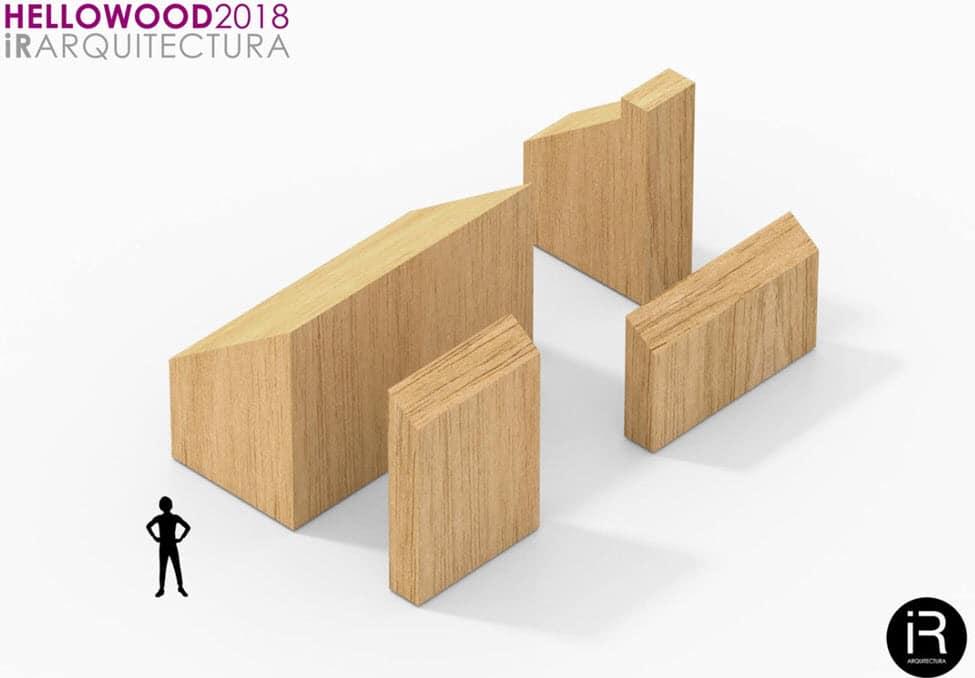 Cuatro módulos de madera