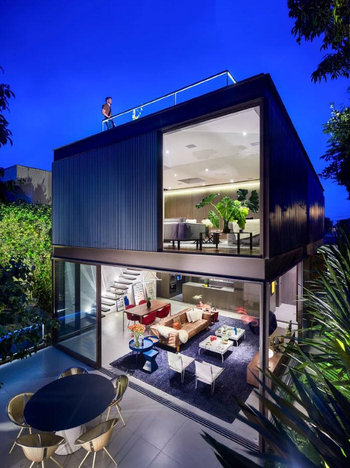 Dise o de casa con estructura met lica armoniosa y - Estructura metalicas para casas ...
