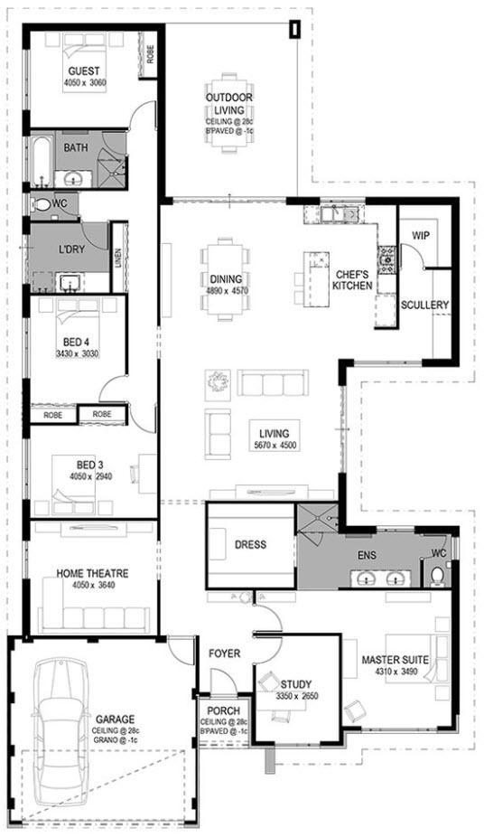 Plano casa de lujo