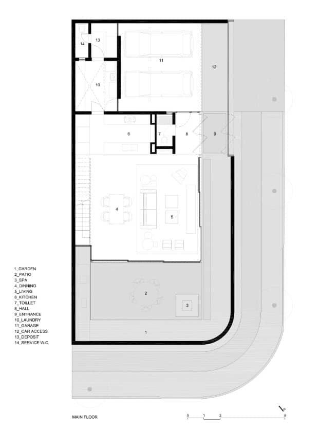 Plano de casa pequeña con garaje