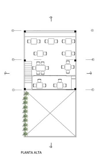 Plano de restaurante dos pisos
