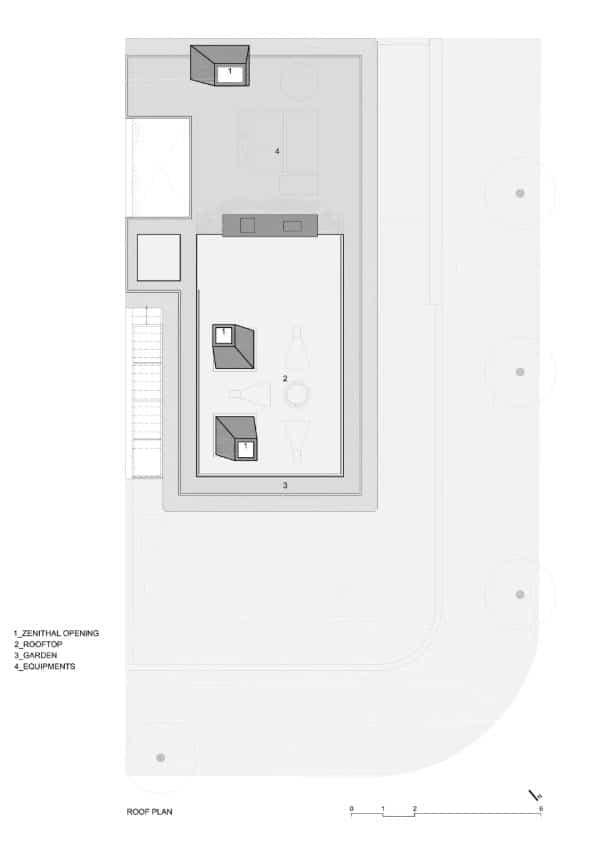 Plano de techo con terraza y mirador