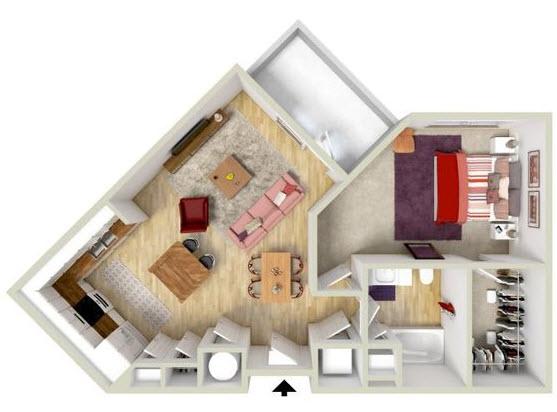 Plano de casa en terreno irregular