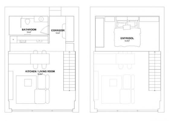 Plano de departamento loft