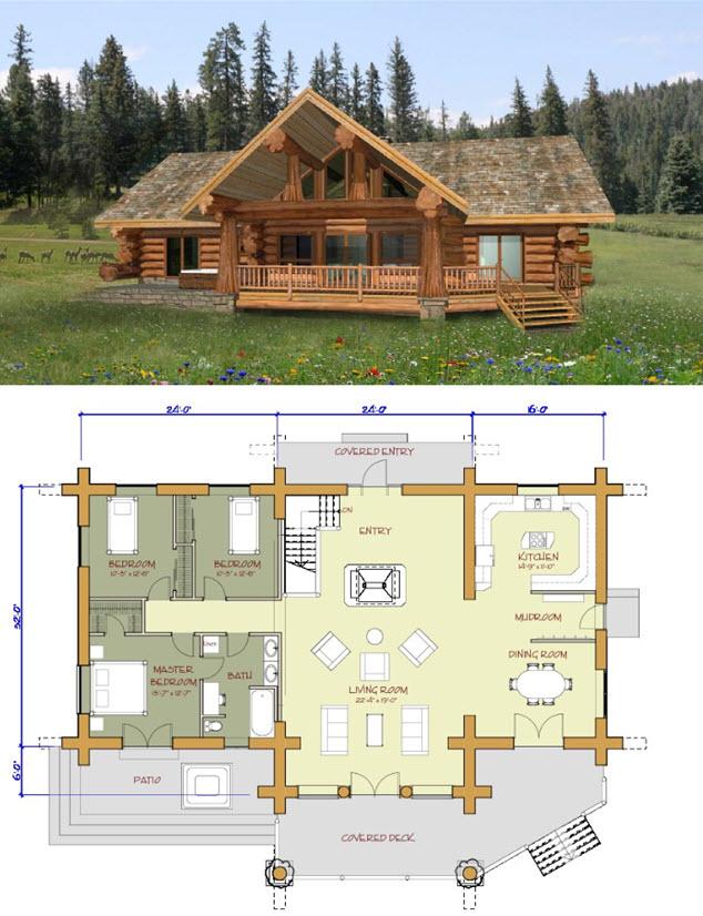 Vivienda rural de troncos de madera