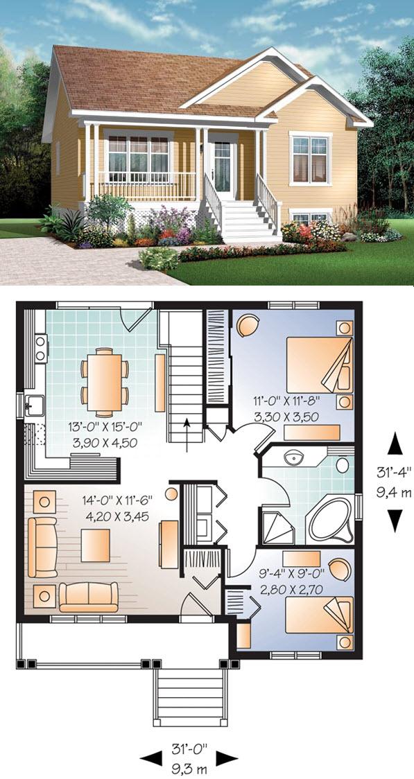 Casa y plano casa rural