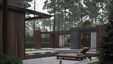 Photo of Moderna casa de bosque de un piso estilizada con piedra y madera