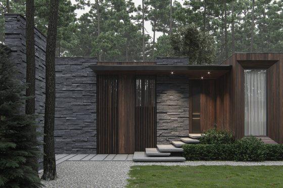 Fachada piedra y madera
