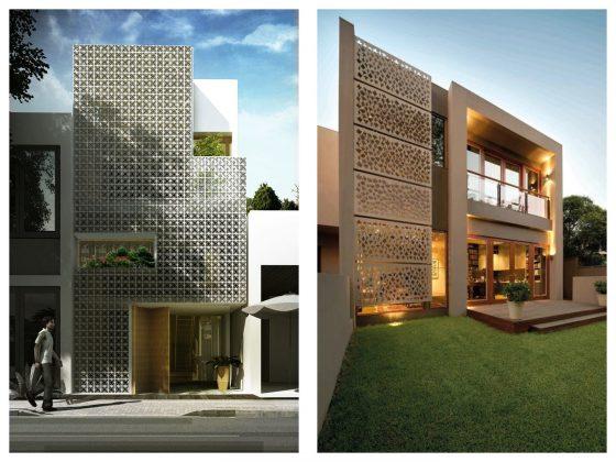 Fachadas de casas paneles perforados