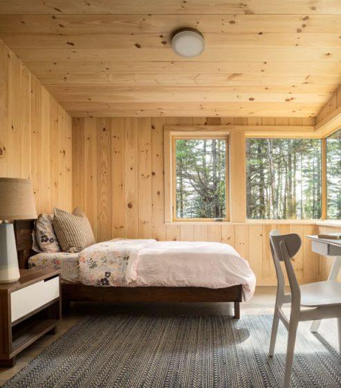 Dormitorio paredes pino