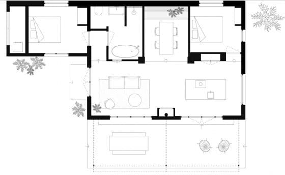 Plano casa de campo dos dormitorios