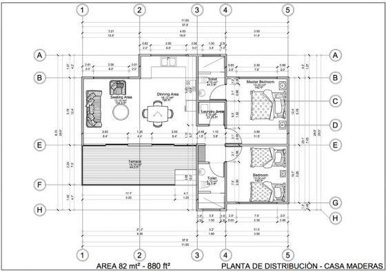 Plano casa pequeña con medidas