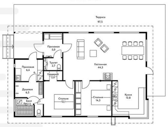 Plano casa rural de forma cuadrada