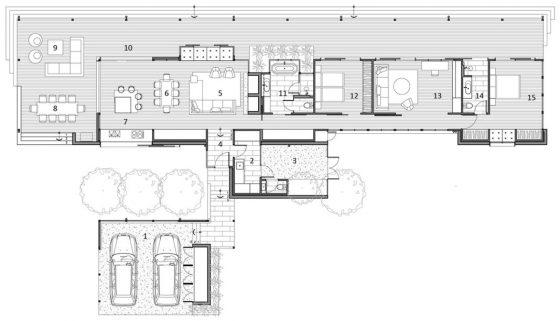 Plano casas de campo grande con garaje