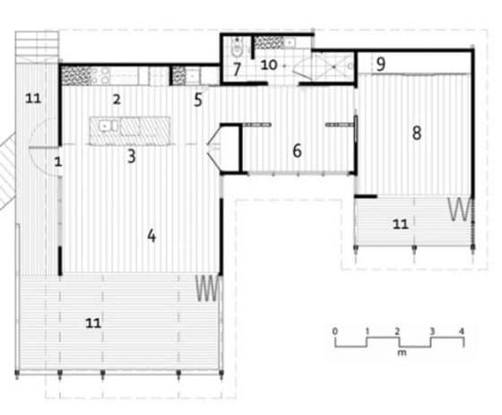 Plano casa para ubicarse en terrenos con pendiente