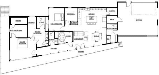 Plano de casa 3 dormitorios con garaje