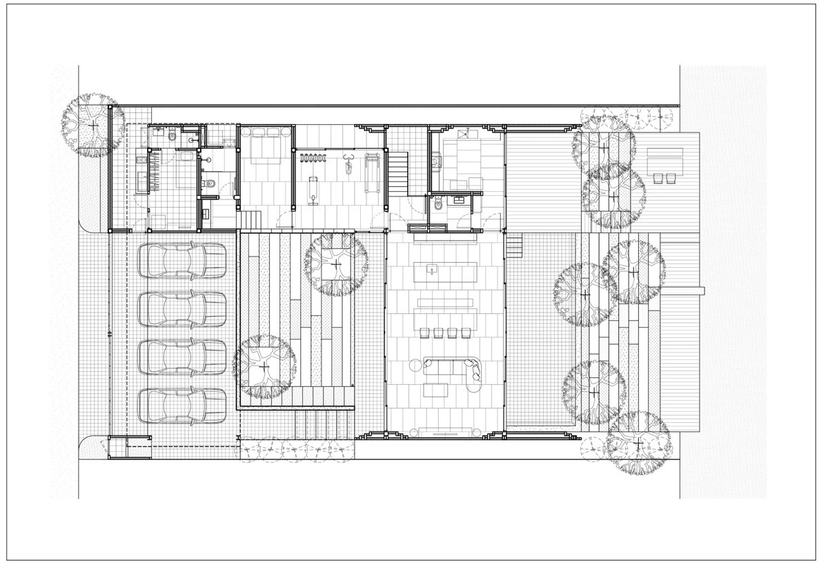 Plano de casa moderna de dos pisos