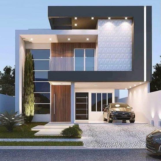 Diseño de fachada de casa de dos pisos de estilo moderno, colores gris y blanco con garaje