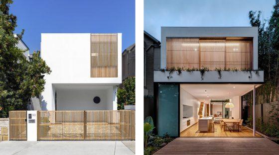 Diseño de fachada de casa de dos niveles de estilo minimalista, uso de madera para cercas y ventanas