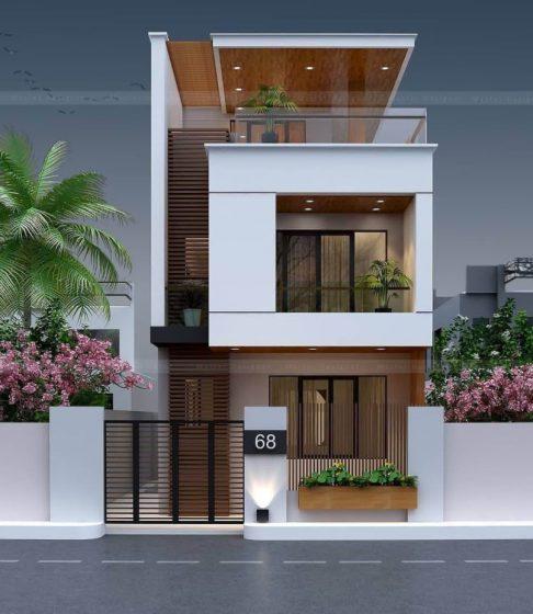 Moderno diseño de casa de dos plantas con amplia terraza en azotea
