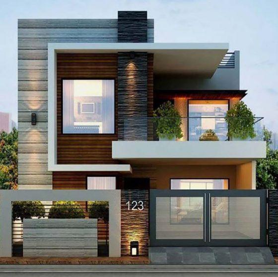 Casa de dos plantas con fachada de   piedra y baldosas, estilo moderno