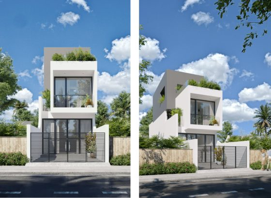 Diseño de hermosa fachada de casa de 2 plantas para terrenos angostos