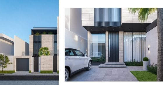 Fachada de diseño vanguardista, estructura de dos pisos segura
