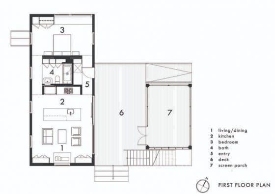 Plano casa de campo pequeño con porche cubierto