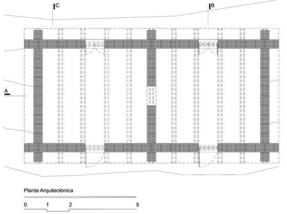 Plano de planta de dos habitaciones para construcción con adobe