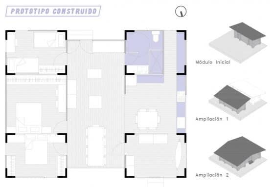 Plano de casa económica que puede construirse por etapas
