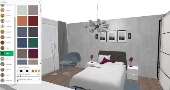 Aplicación Planner 5D, permite cambiar tapices, tipos de pisos, color de pintura en diseño de interiores