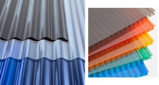 Modelos de policarbonato curvo y plano de diferentes colores