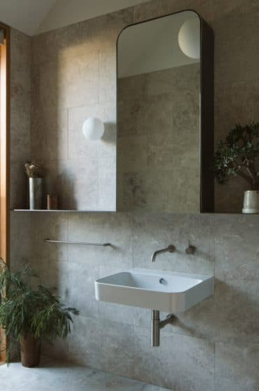 Diseño de lavabo de cuarto de baño de estilo rústico